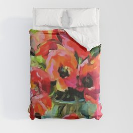 Poppies In A Glass Vase Comforters