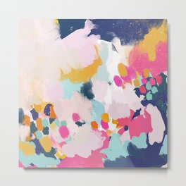 Misty Blooms- abstract - blue , pink and yellow Metal Print