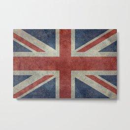 UK Flag in Dark grunge Metal Print