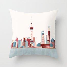 City Shanghai Throw Pillow