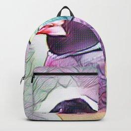 Black Headed Finch In Watercolour Backpack