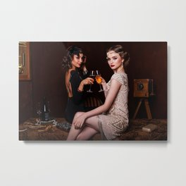 Flapper Girls Drinking Wine Metal Print