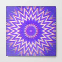 Expanding Aura Light Mandala Metal Print