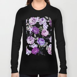 Elegant Girly Violet Lilac Purple Flowers Long Sleeve T-shirt