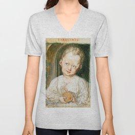 """Albrecht Dürer """"The Christ Child Holding the Orb"""" Unisex V-Neck"""