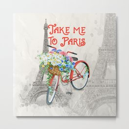 Vintage Red Bicycle with Flower Basket Paris Metal Print