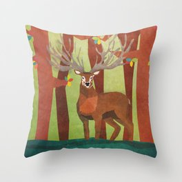 Majestic Stag in Forest Throw Pillow