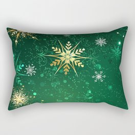 Gold Snowflakes on a Green Background Rectangular Pillow