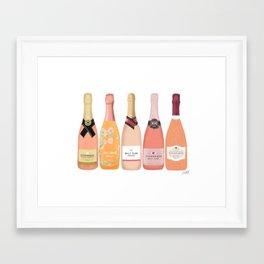 Rose Champagne Bottles Framed Art Print