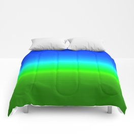 Blue Sky Green Grass Deconstructed (blue to green ombre gradient) Comforters