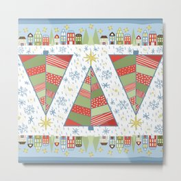 Holiday Christmas Village with Patchwork Christmas Trees Snow and Stars Metal Print