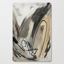 Drift [5]: a neutral abstract mixed media piece in black, white, gray, brown Cutting Board