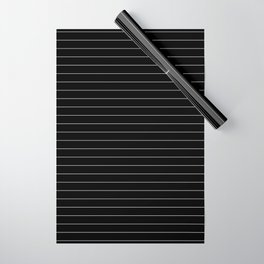 Black And White Pinstripe Line Stripe Minimalist Stripes Lines Wrapping Paper