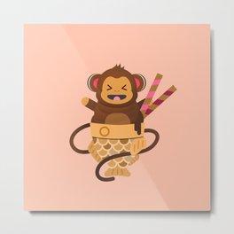 Taiyaki Monkey Ice Cream Metal Print
