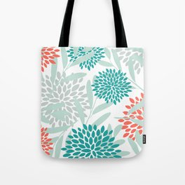 Festive, Floral Leaves and Blooms Coral, Teal Green and White Tote Bag