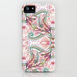 Lily, Leaf & Triangle Pattern – multi-color version iPhone Case