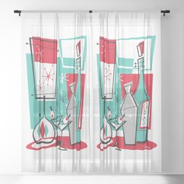 Mid Century Modern Martini art by Art of Scooter Sheer Curtain