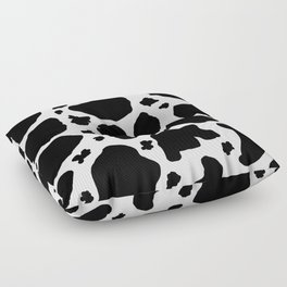 black and white animal print cow spots Floor Pillow