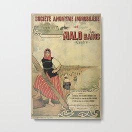 Malo les Bains Vintage Travel Poster Metal Print