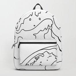 Minimal Line Art Ocean Waves Backpack