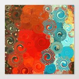 Turquoise and Red Swirls Leinwanddruck