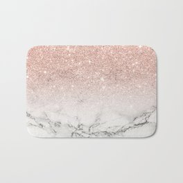 Modern faux rose gold pink glitter ombre white marble Bath Mat