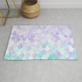 Mermaid Iridescent Purple and Teal Pattern Rug