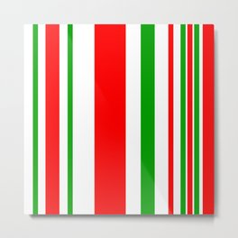 Christmas Stripes of Green Red and White- candy cane colors Metal Print
