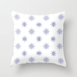 Seamless pattern with blue snowflakes on white background Throw Pillow
