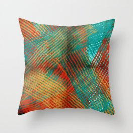 Red and Turquoise Weave Throw Pillow