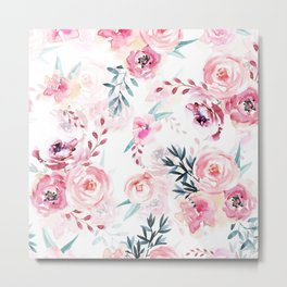 Pink Watercolor Florals I Metal Print