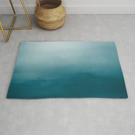 Tropical Dark Teal Inspired by Sherwin Williams 2020 Trending Color Oceanside SW6496 Watercolor Ombre Gradient Blend Abstract Art Rug