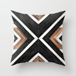 Urban Tribal Pattern No.1 - Concrete and Wood Throw Pillow