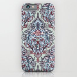 Botanical Moroccan Doodle Pattern in Navy Blue, Red & Grey iPhone Case