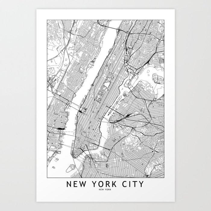 New York City White Map Kunstdrucke