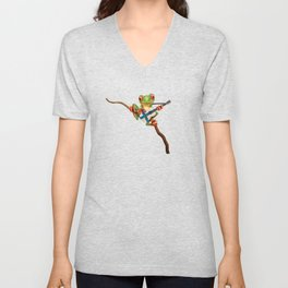 Tree Frog Playing Acoustic Guitar with Flag of Finland Unisex V-Neck