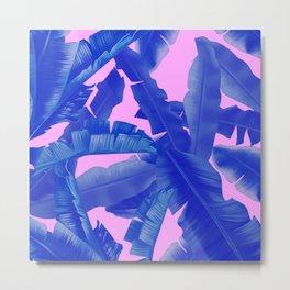 tropical banana leaves pattern,pink,blue Metal Print