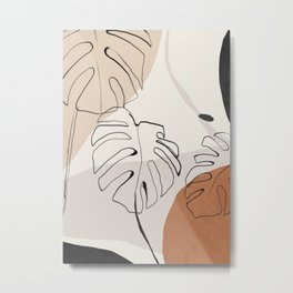 Minimal Abstract Art- Monstera Metal Print