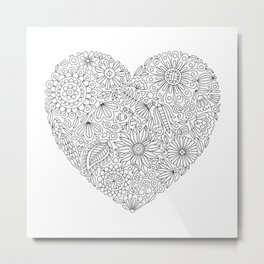 Flowers Heart Coloring Page, Flourish and Bloom Metal Print