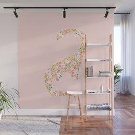 Floral Brontosaurus in Pink Wall Mural