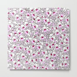 Cute Adorable Pink White Black Teddy Bear Collage Metal Print