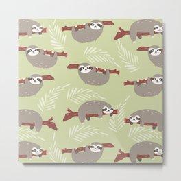 Funny sloth pattern Metal Print