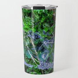 Raindrops in the spider web Travel Mug