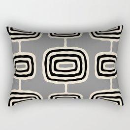 Mid Century Modern Atomic Rings Pattern 233 Black Beige and Gray Rectangular Pillow