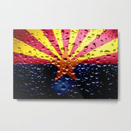 Flag of Arizona - Raindrops Metal Print