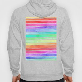 Bright Rainbow Colored Watercolor Paint Stripes Hoody