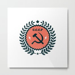 Hammer Sickle Communist Badge Metal Print