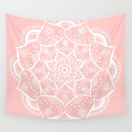 White and Pink Flower Mandala Wall Tapestry