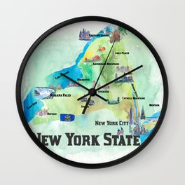 USA New York State Travel Poster Map with tourist highlights Wall Clock