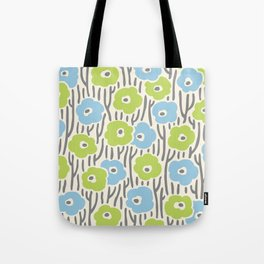 Mid Century Modern Wild Flowers Light Blue, Chartreuse and Gray 377 Tote Bag